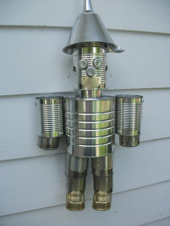 Screws wire empty tin cans a tin man helpful for Tin man out of cans