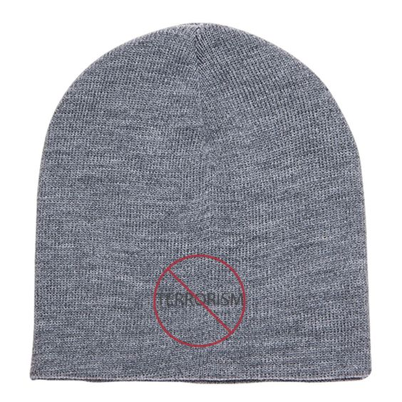 Stop Terror Embroidered Knit Beanie