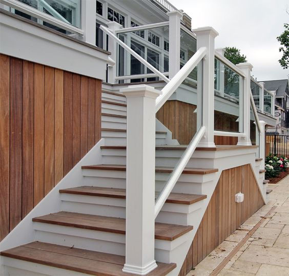 Safety Handrails For Outdoor Steps: Outside Wood Handrails For Stairs