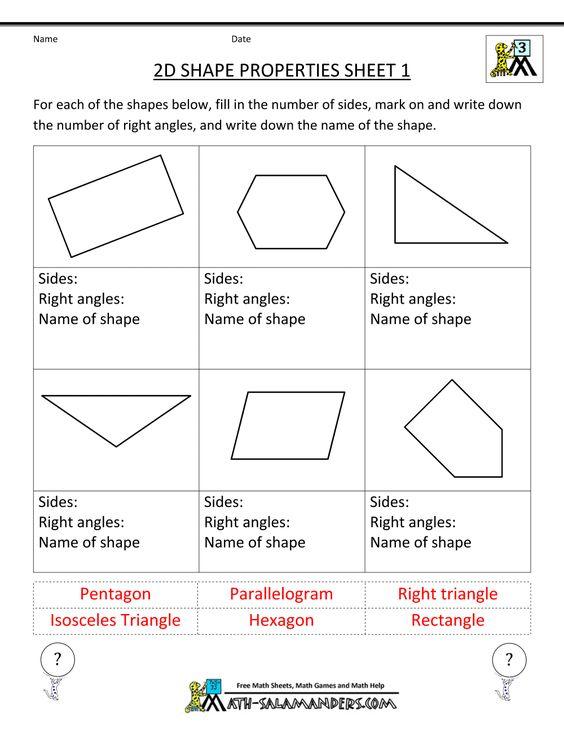 math worksheet : 3rd grade math practice 2d shape properties 1  educational  : 3rd Grade Math Practice Worksheets