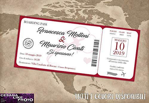 Partecipazioni Matrimonio Personalizzate Inviti Nozze Biglietto Aereo Boarding Pass