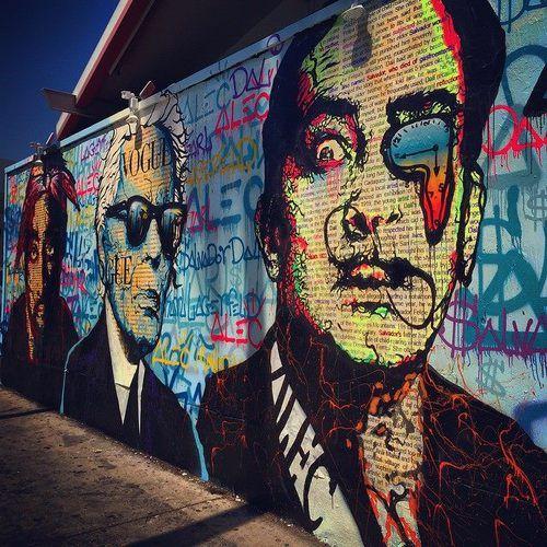 street mural of tupac shakur karl lagerfeld and salvador