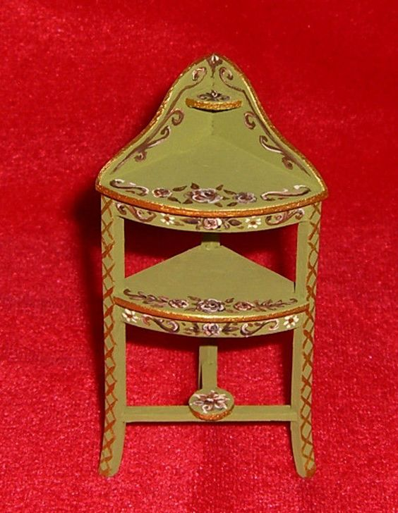 Dollhouse Miniature Hand Painted Floral Corner Washstand Furniture