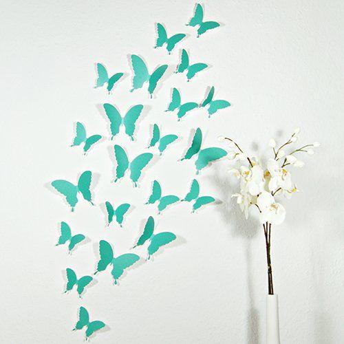 Wandkings 3D-11032 Schmetterlinge im 3D-Style, 12-Stück, Wanddekoration mit Klebepunkten zur Fixierung, türkis