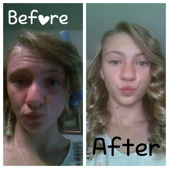 My before/after hair curlers