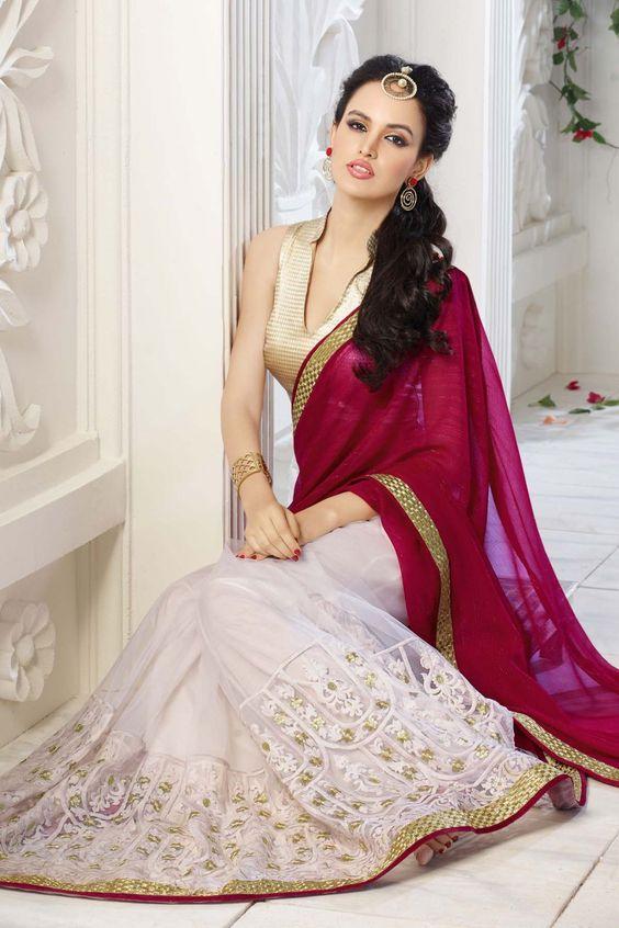 Rosa y Off Blanco Falso Georgette y Net sari con bordado y encaje de trabajo - Z1869P10714-25