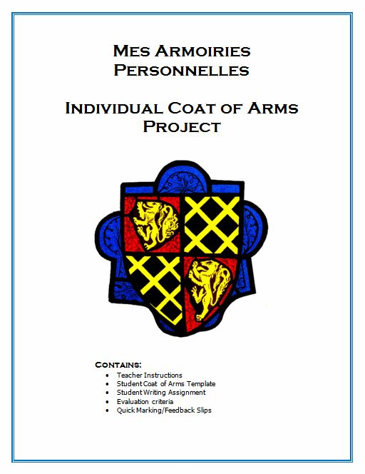 $ Get FSL students writing/speaking abt themselves & assess their general level of French & get to know them as individuals.   Students create a personal coat of arms based on (dis)likes This includes opportunities for them to write about their friends, music, favourite foods and hobbies. Students will present their coat of arms to the class, giving the teacher a chance to assess their oral competency as well. Teaching Notes, timing, oral practice and a sample rubric are all included…
