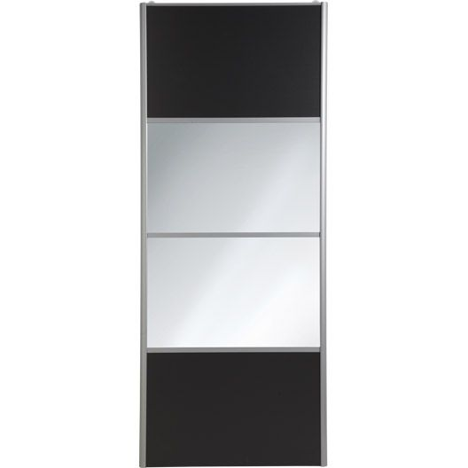 porte de placard coulissante spaceo cm gris graphite miroir argent rangement. Black Bedroom Furniture Sets. Home Design Ideas