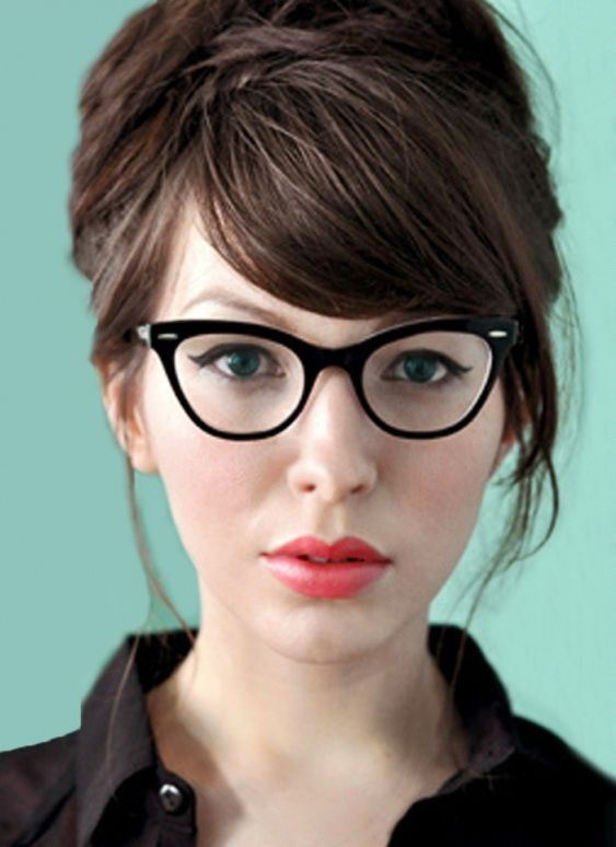 Image Result For Cat Eye Glasses For Round Face Female Style Girls With Glasses Hairstyles For Round Faces