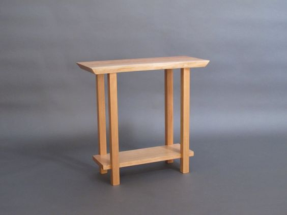 Narrow Live Edge Side Table: Small Accent Table, Narrow