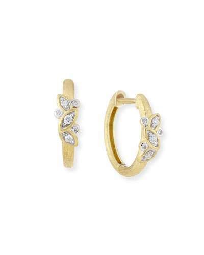 Jude Frances Sonoma Single Leaf Hoop Earrings with Diamonds