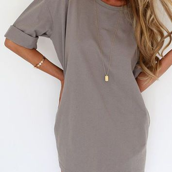 Gray Half Sleeve Tee Dress: