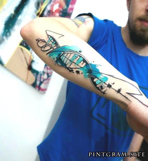 Watercolor Tattoo Tatouage Couleur Turquoise Abstrait Model Tattoo
