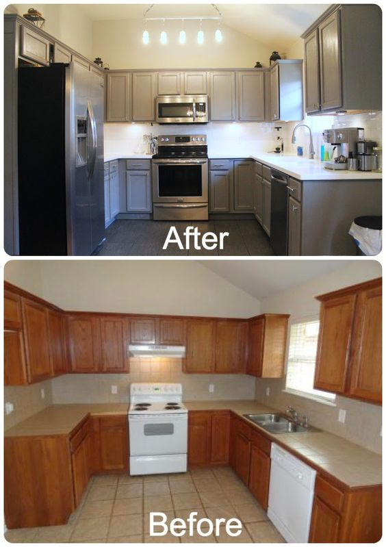 DIY Kitchen Re-Do. Rust-Oleum cabinet resurfacer painted with gray color. Stainless appliances and a hand-made light fixture designed with glass power line insulators. Grey cabinets, with white subway backsplash and white solid surface counter top, and grey porcelain tile floor. Click link for details. http://thedufflefamily.blogspot.com/2014/05/diy-kitchen-makeover.html # Gray Cabinets # Painted Cabinets # Kitchen Makeover # DIY Kitchen