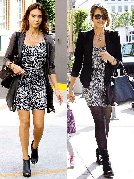 "This photo of Jessica Alba demonstrates perfectly how to take a ""summer"" dress into fall by adding a blazer, tights, and boots and like magic, any hint of summer has quickly vanished into fall."