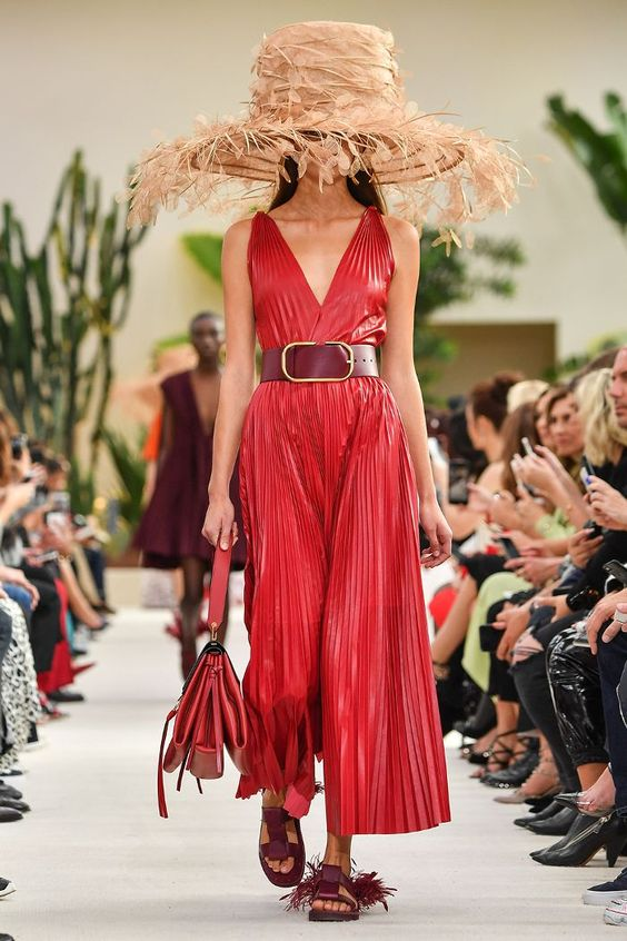 spring summer 2019 fashion trends: Valentino's giant feather hats from Philip Treacy