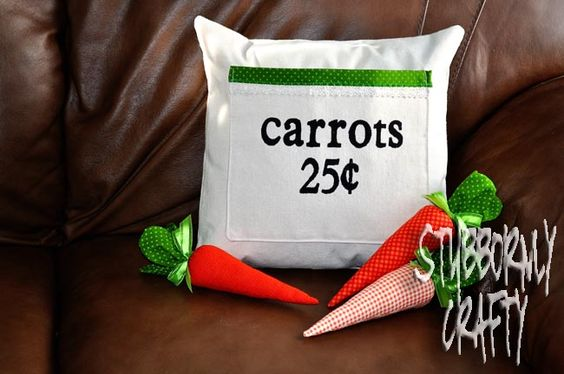 Stubbornly Crafty: Easter Pillow Cover- Carrots 25 Cents