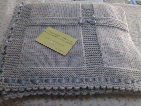 Toca de lana gris hecha a mano bebes pinterest - Mantas de punto hechas a mano ...