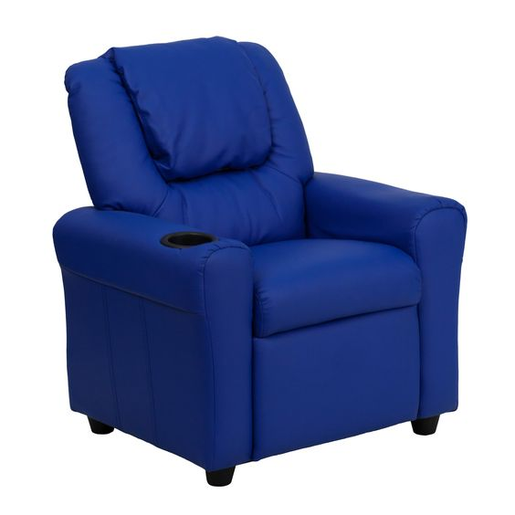 Flash Furniture Contemporary Blue Vinyl Kids Recliner with Cup Holder and Headrest [DG-ULT-KID-BLUE-GG]