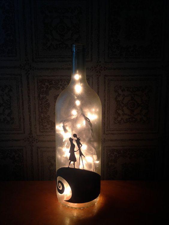 Nightmare Before Christmas Inspired Wine Bottle / Jack and Sally / Wine Bottle Light