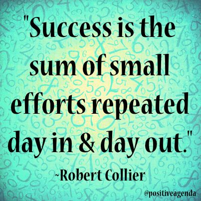 #Success is the sum of small efforts repeated day in and day out #quote #persistence