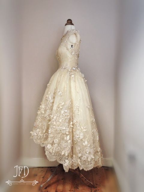 Hem A Lace Wedding Dress : Lace and tulle dipped hem wedding dress flower