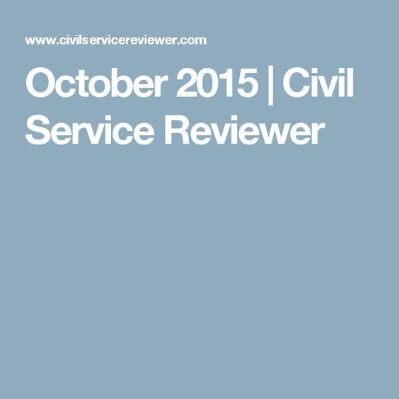 October 2015 | Civil Service Reviewer