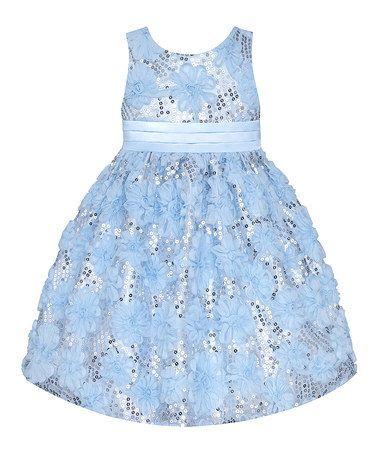 American Princess Ice Blue Sequin Floral Dress - Toddler &amp- Girls ...