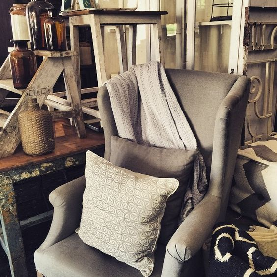 """""""Wintery grey wingback chair and loads or warm white things #new phone #linen #newkabinettstock #belgian #white #iwantthis"""" Photo taken by @kabinettvintage on Instagram, pinned via the InstaPin iOS App! http://www.instapinapp.com (03/26/2015)"""