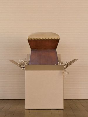 Leather-Topped Ottoman: Woodland's leather-topped wooden ottoman with double-glaze Bordeaux finish and nailhead trim.
