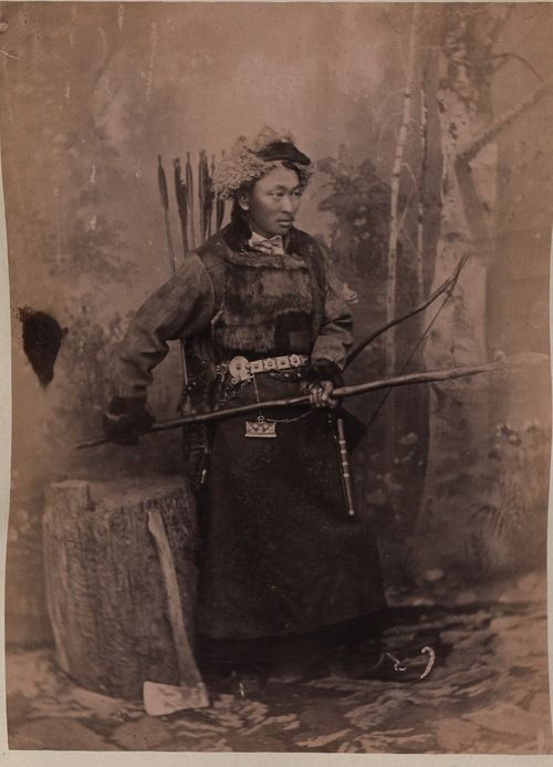 Archer with pike and axe, Mongolia circa 1889: