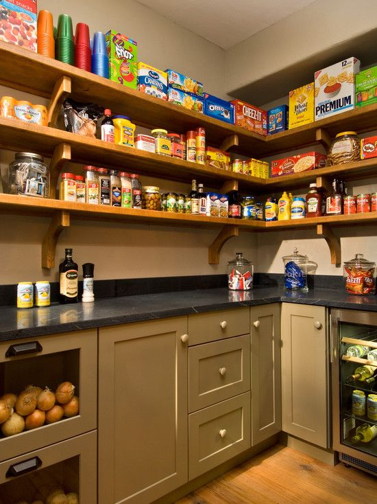 Pantry coolness. Love the counter, onion storage bins, etc.