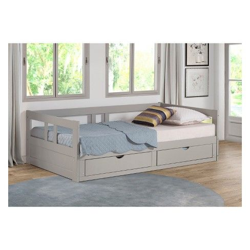 Melody Day Twin To King Bed With Storage Dove Gray Bolton Furniture Daybed With Storage Daybed With Trundle Bed Storage Drawers