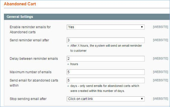 General Settings For Abandoned Cart Emails In Magento  Magento