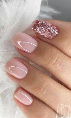 Light Pink And Rose Gold Nails Glitter Nails Acrylic Nail Designs Glitter Nails