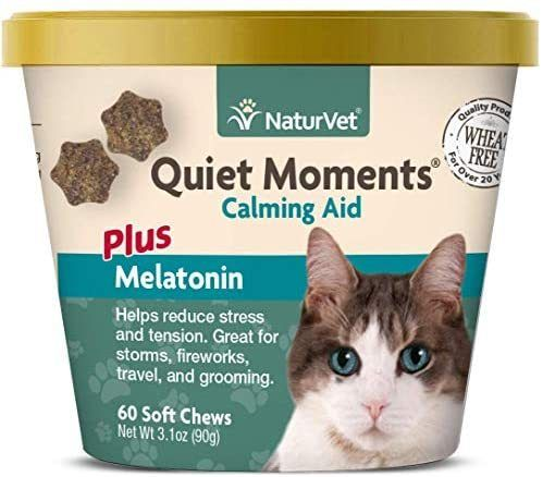 Naturvet Quiet Moments Calming Aid For Cats Plus Melatonin 60 Soft Chews Helps Reduce Stress Promote Relaxation Great For S Quiet Moments Pet Calming Calm