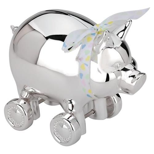 Reed & Barton Modern Classic Silver Plated Piggy Bank With