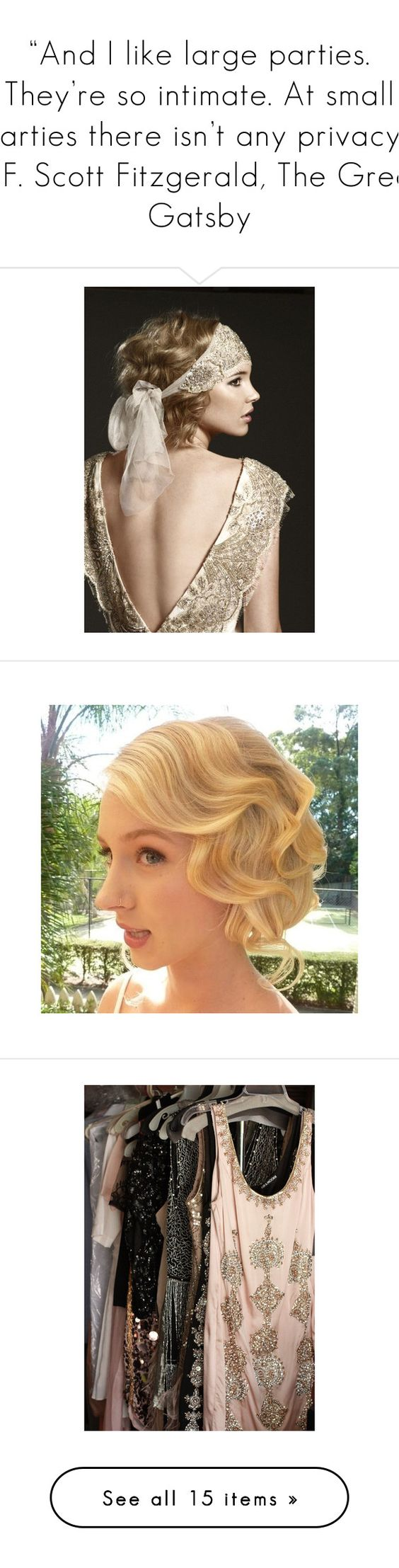 """""""""""And I like large parties. They're so intimate. At small parties there isn't any privacy."""" ― F. Scott Fitzgerald, The Great Gatsby"""" by storycosmicjasmine ❤ liked on Polyvore featuring flapper, hair, backgrounds, pictures, photos, pics, accessories, hair accessories, people and 1920s headband"""
