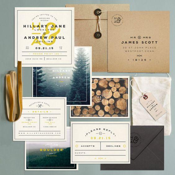 Camping Themed Wedding? Into The Woods? or just barn-login folk?!?!  Price Includes:  Invitation Rsvp Tie Kraft Mailing Envelope Rsvp Envelope