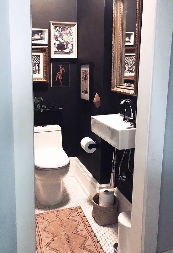 Tiny Powder Room Gets A Moody Boho Makeover Tiny Powder Rooms Small Toilet Room Powder Room Small