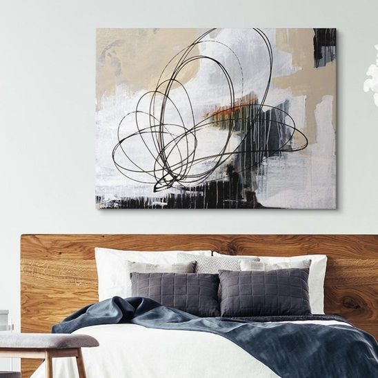 Modern Abstract Art In A Contemporary Bedroom Joshua Schicker Is Known For Creating Contemporary P Modern Abstract Art Geometric Abstract Modern Art Abstract