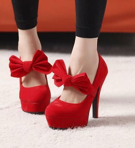 Adorable red high-heels with bow strap | Modas | Pinterest | To ...