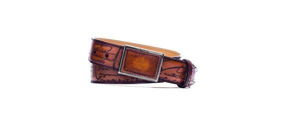 BERLUTI MILITARY PLAQUE BELT 35MM Venezia Scritto Collection Venezia Scritto Leather Cacao, TDM, St Emilion