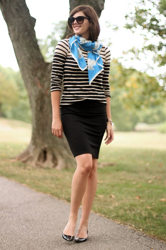 What I Wore, Jessica Quirk, Style Blog, Outfit Blog, Personal Style Blog, Fashion Blog, Striped Top, How to wear a Scarf, Black Skirt, Simple Outfit, Biking Outfit, Work Outfit, J. Crew, Madewell, Bloomington Indiana: Color, Feeling Scarf, Fashion Blog, Work Outfit, Blue Scarf