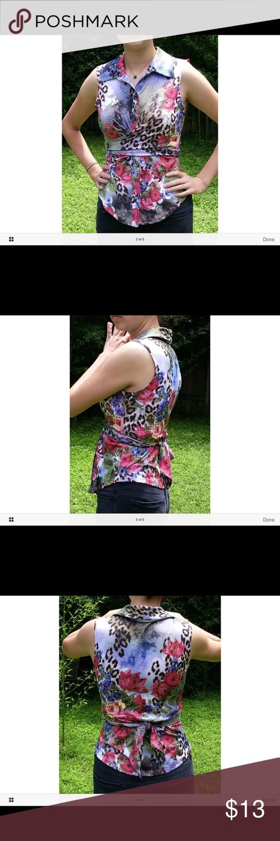 BOHO CHIC Floral/Leopard Wrap Top LN Nice, nice, nice stretch with button front with wrap.90% Polyester, 10% Spandex. BOHO CHIC Tops Button Down Shirts