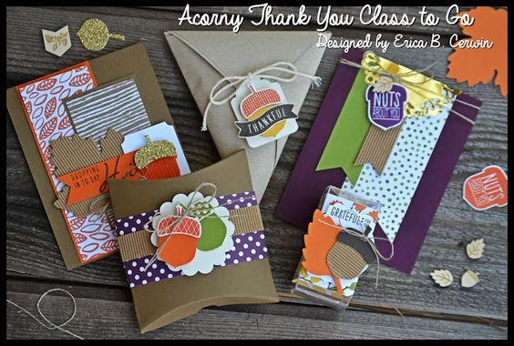 Stampin' Up Witches' Night Treat Box Video Tutorial appears when you click on this image.  Image shown is Acorny set from Holiday 2015.