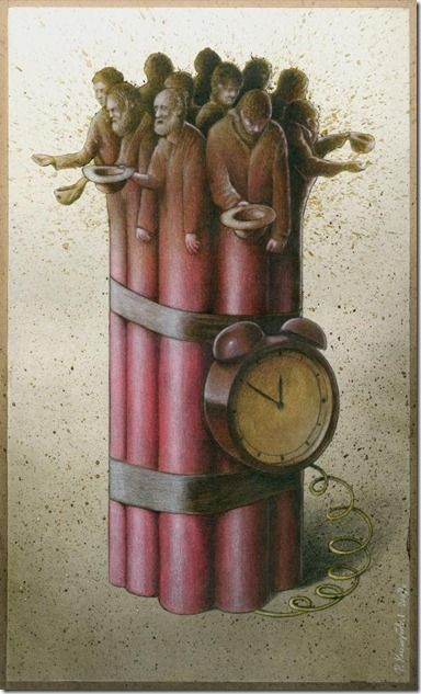 "By Pawel Kuczynski--  The poor, a ticking bomb.   I love it when art actually makes me think and go ""oooh"".:"