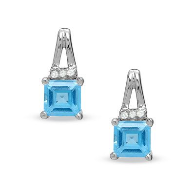Square Blue Topaz Birthstone Earrings in Sterling Silver with Diamond Accents