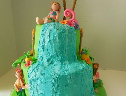 A birthday cake  I designed for a sweet 2 year old's luau birthday.