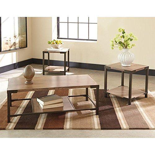 Ashley Dexifield 3 Piece Coffee Table Set In Light Brown Coffee